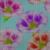 Illustration. Cross-stitch. larger bindweed. Seamless pattern. Illustration. Cross-stitch. larger bindweed. Texture of flowers. Seamless pattern for continuous Stock Photos