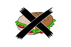 Illustration of a crossed out sandwich stock illustration