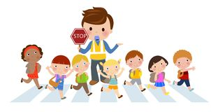 Kids Crossing the street Stock Photo