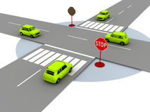 Illustration of crossroads. With yellow cars Stock Images
