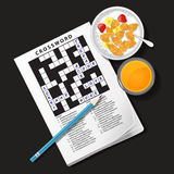 Illustration of crossword game with cereal bowl and orange juice Stock Photos
