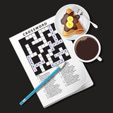Illustration of crossword game, mug of coffee and crepe Stock Images