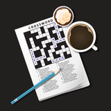 Illustration of crossword game, mug of coffee and cup cake Stock Images