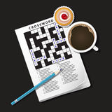 Illustration of crossword game, mug of coffee and cup cake Royalty Free Stock Image
