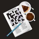 Illustration of crossword game, mug of coffee and pie Stock Images