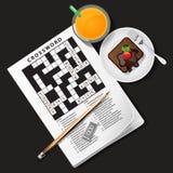 Illustration of crossword game with orange juice and chocolate c Stock Photos