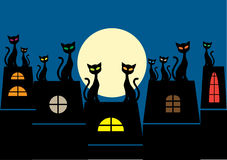 Illustration of crowd of cats sitting on roofs wat Royalty Free Stock Photos