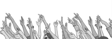 Illustration of crowd cheering with raised hands at music festival. Stylized drawing of crowd cheering with raised hands Royalty Free Stock Photography