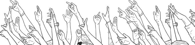 Illustration of crowd cheering with raised hands at music festival. Stylized drawing of crowd cheering with raised hands Stock Image
