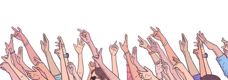 Illustration of crowd cheering with raised hands at music festival. Stylized drawing of crowd cheering with raised hands Stock Photos