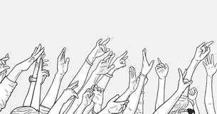 Illustration of crowd cheering with raised hands at music festival. Stylized drawing of people partying with raised hands Royalty Free Stock Images