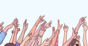 Illustration of crowd cheering with raised hands at music festival Royalty Free Stock Photos