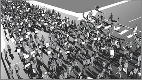 Illustration of crowd march for human rights with blank signs royalty free illustration