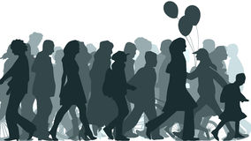Illustration of crowd moved unknown people. Royalty Free Stock Images