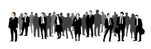 Illustration of crowd of office workers, businessman and women in black, white and grey scale. Illustration of group of people in business siuts in black and stock illustration