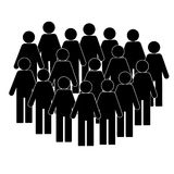 Illustration of crowd of people - icon silhouettes . Social icon. Modern design flat style icon . stock illustration