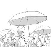 Illustration of crowd of people with rain coats and umbrellas in black and white Stock Photos