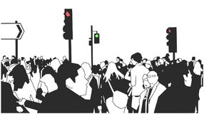 Illustration of crowd of people walking on the street with street signs and traffic lights. Stylized drawing London street crowd stock illustration