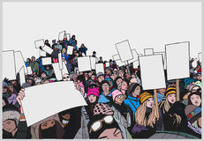 Illustration of crowd protesting for human rights with blank signs in color Royalty Free Stock Images