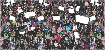 Illustration of crowd protesting for human rights with blank signs and flag. Protesting crowd from high angle view in color Royalty Free Stock Images
