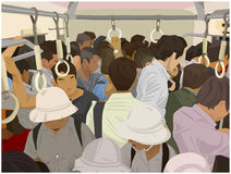 Illustration of crowded commuter train in color. Stylized illustration of packed subway train in color Royalty Free Stock Photography