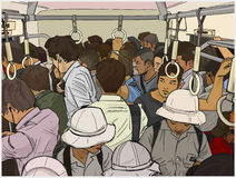 Illustration of crowded commuter train. Stylized drawing of asian commuters from high angle Stock Photos