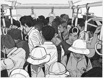 Illustration of crowded commuter train. Stylized drawing of asian commuters from high angle Royalty Free Stock Photography