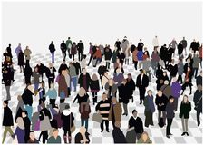 Illustration of crowded hall in color and perspective Royalty Free Stock Photo