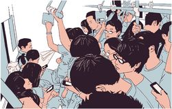 Illustration of crowded metro, subway cart in rush hour. Illustration of crowded public transport Stock Images