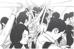 Illustration of crowded metro, subway cart in rush hour. Illustration of crowded public transport Royalty Free Stock Images