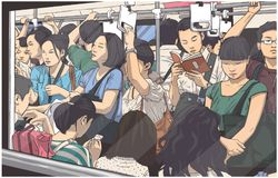 Illustration of crowded metro, subway cart in rush hour vector illustration