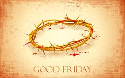 Good Friday Background with Crown of Thorns stock illustration