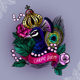Illustration with crowned peacock in pearls on roses background/ Stock Images