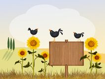 Crows in the countryside. Illustration of crows in the countryside Vector Illustration