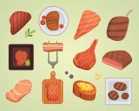 Illustration crue et grillée de bifteck de boeuf différent de viande de nourriture de barbecue de BBQ d'ingrédient de vecteur illustration libre de droits