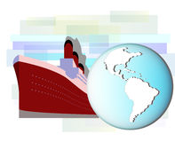 Illustration of cruise ship with earth Stock Images