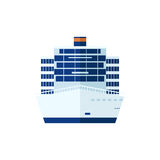Illustration of cruise ship isolated, front view, on white background Stock Photos