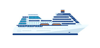 Illustration of cruise ship isolated, side view of cruise ship on white background Royalty Free Stock Images