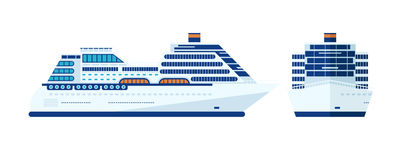 Illustration of cruise ship isolated, side view    on white background Royalty Free Stock Photos