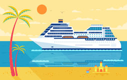 Illustration of cruise ship , side view, near beach, palm trees stock illustration
