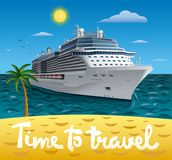 Cruise ship resort. Illustration of cruise ship to tropical sea beach resort royalty free illustration