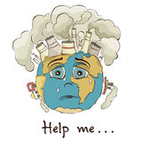 Illustration - crying Earth Stock Photography