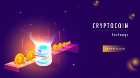 Illustration of crypto server, virtual money exchange to real mo Royalty Free Stock Photography