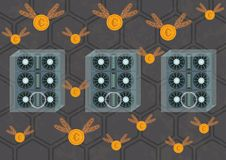 Illustration of cryptocurrency mining farms royalty free illustration