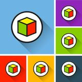 Cube icons with long shadow. Illustration of cube icons with long shadow Stock Photo
