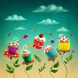 Cup cakes flowers stock illustration