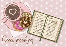 Illustration with cup of coffee and book Stock Images