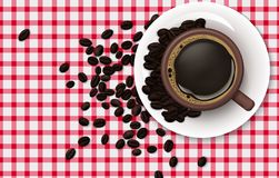 Cup of coffee with coffee beans on a tablecloth background. Illustration of Cup of coffee with coffee beans on a tablecloth background Stock Photos