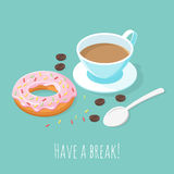 Illustration of cup of coffee and donut. Stock Image