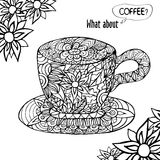 Illustration with a Cup of coffee and hand drawn floral. Vector illustration with a Cup of coffee, hand drawn floral ornament and title 'What about coffee' in Royalty Free Stock Images
